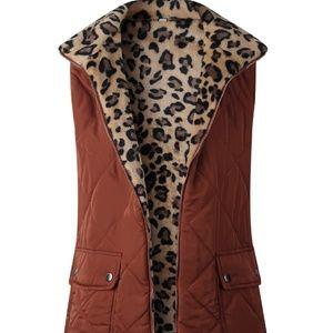 Reversible Leopard Utility Vest
